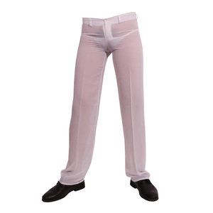 Image 3 - Mens Sexy Chiffon Sheer See Through Loose Fit Pants Straight Leg Nightwear Breathable Sleep Bottoms Man Full Length Trousers