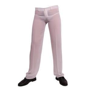 Image 3 - ผู้ชายเซ็กซี่ชีฟอง Sheer ดูผ่านหลวม Fit กางเกงขาตรงชุดนอน Breathable Sleep Bottoms Man ความยาวเต็มกางเกง