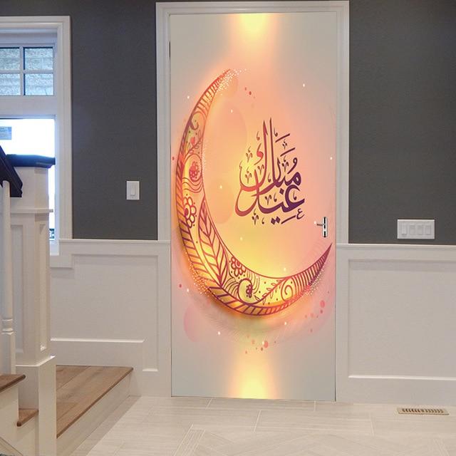 Happy Eid Mubarak Door Sticker Ramadan Decoration Living Room Bedroom Door Creative Home Decor Waterproof 3D Muslim Wall Sticker