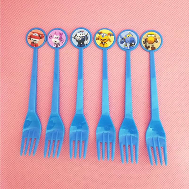 6PCS Superwings Theme Plastic Forks Birthday Party Decorate Kids Favors Baby Shower Super Wings Tableware Cartoon Event Supplies ...