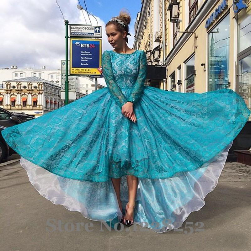 Aliexpress.com : Buy 2016 Lace Full Sleeve High Low Prom Dresses ...