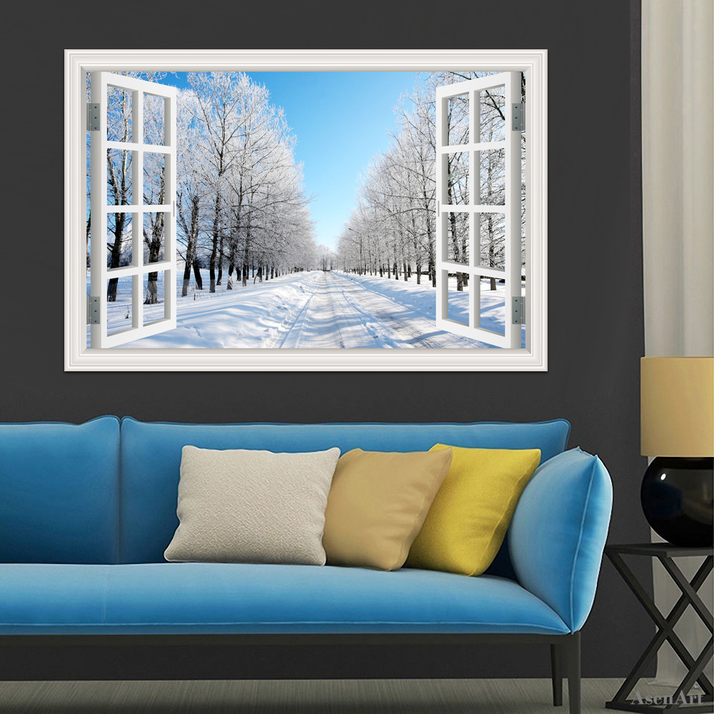3d window view stickers snow tree wall sticker removable winter 3d window view stickers snow tree wall sticker removable winter forest wallpaper pvc wall decals for living room home decor art in wall stickers from home amipublicfo Gallery