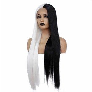 Image 2 - VNICE peluca recta de encaje atado a mano, Mitad negro de Color medio blanco, peluca sintética de alta temperatura con malla frontal para Cosplay para mujer