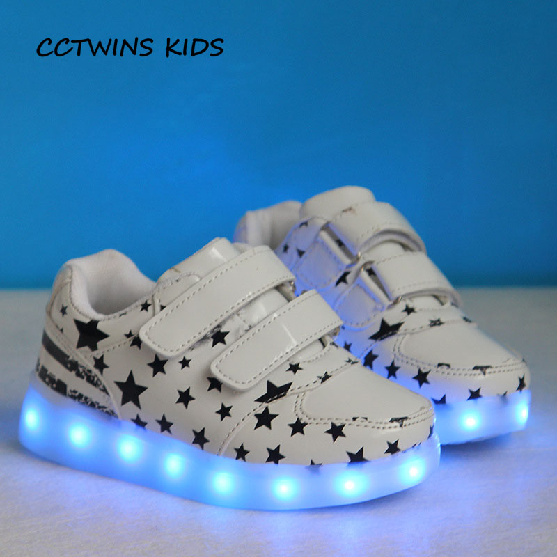 CCTWINS KIDS 2017 Child Kid Boy Fashion White Flat Toddler Glowing Light USB Shoe Baby Girl Pu Leather Sport Led Sneaker F1411