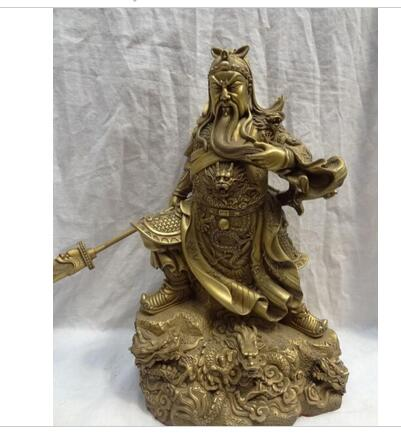 15 Chinese Pure Brass Warrior Guan Gong GuanYu God On 5 Dragon Head Statue decoration bronze factory outlets
