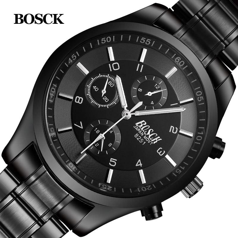 Bosck Hommes Montre de Sport En Acier Inoxydable Hardlex Nouveau Avec Tags Montre-Bracelet Des Hommes De Mode Casual Reloj Hombre Mâle Quartz-Montre 2017