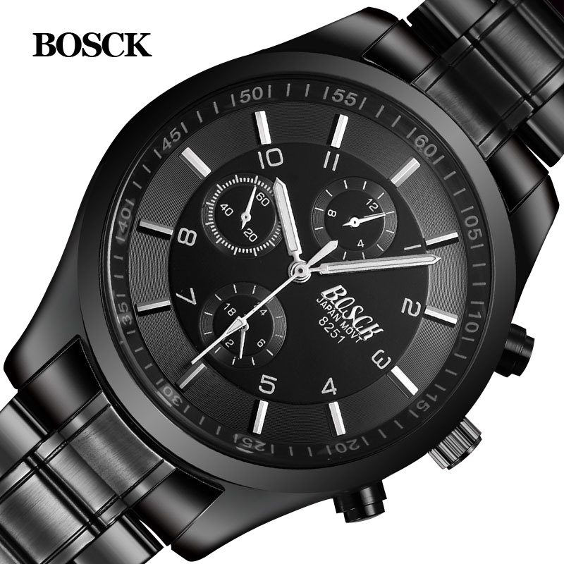 Bosck Men Watch Sports Stainless Steel Hardlex New With Tags Wristwatch Mens Fashion Casual Reloj Hombre Male Quartz-Watch 2017 men quartz watch stainless steel mesh band gold wristwatch slim mens wristwatch male sports fashion wrist watch fashion