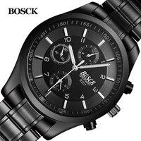 Bosck hardlex גברים נירוסטה ספורט שעון שעוני יד mens אופנה חדש עם תגים hombre reloj מזדמן שעון קוורץ זכר-2017