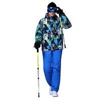 Теплая зима лыжный костюм комплект Для мужчин ветрозащитный Водонепроницаемый Лыжный Спорт Сноубординг костюмы набор мужской Лыжная курт