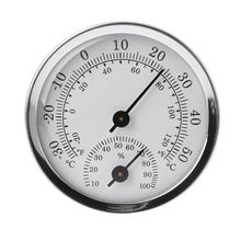 Household Mini 57mm Aluminum Alloy Metal Thermometer Hygrometer for Sauna Room Temperature Humidity Meter G8TB цена