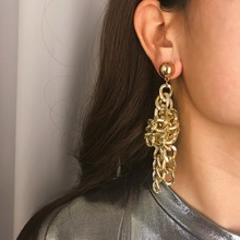 OLOEY Punk Women Long Earrings Boho Fashion Geometric Metal Drop Female Exaggerated Personality Jewelry Accessories