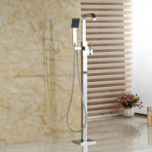 Wholesale And Retail Free Standing Tub Filler Chrome Finish Brass Shower Mixer Tap + ABS Plastic Hand Shower