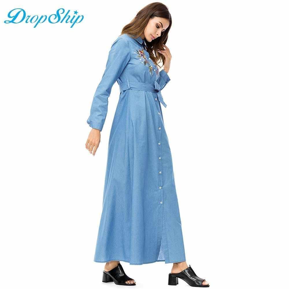17e7ed4860 ... dropship Streetwear Women floral embroidery Denim Dress lapel long  sleeve Single-breasted shirt dress Autumn ...