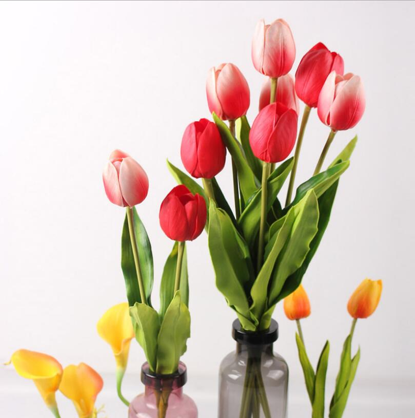 Largo Pu Real Touch Tulip Artificial Faux Flores Boda Home