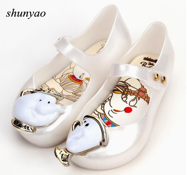 2944e65b6880 New Baby Girl s Sandals Beauty Beast Teacup Non-slip Soft Jelly Shoes  Children s Shoes Beach Shoe Baby Shoes