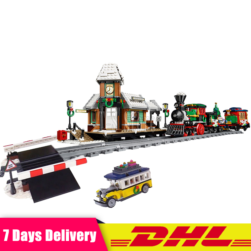 DHL Lepin 36001 Winter Holiday Train +36011 The Village Station Building Blocks Bricks Toys Christmas Gifts Clone 10254 10259 dhl lepin 36001 winter holiday train 36011 winter village train educational building blocks toys gifts clone with 10254 10259