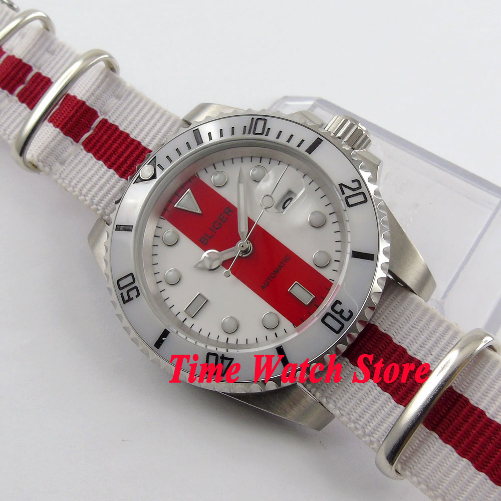 Bliger 40mm white red dial saphire glass date magnifier Ceramic Bezel nylon strap Automatic movement  Men's watch BL125
