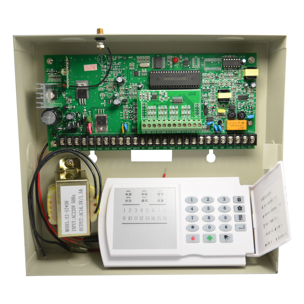 Factory Sale Metal Box Security Home PSTN Alarm System 8/16 Wired And 16 Wireless Zones Link To Smoke Detector PIR Motion Detect