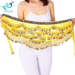Image 4 - Sexy Festival Hip Scarf Gold Coins Women Belly Dancing Performance Hip Skirt Oriental/Indian Belly Dance Coin Belt