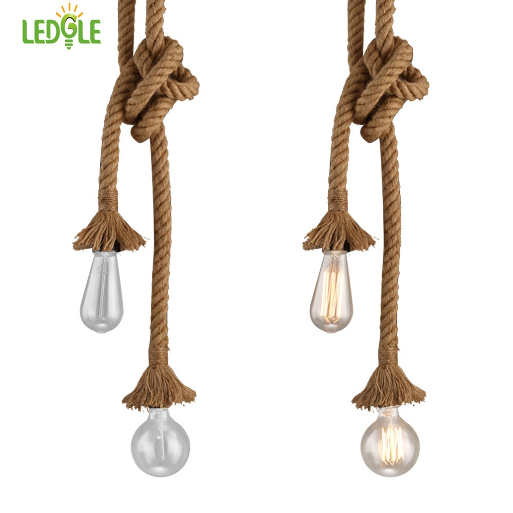 LEDGLE Vintage Pendant Light Cord Decorative Ceiling Rope Lamp Country Style Lighting Kit With 2 E27 Sockets 1.5m In Length Luz