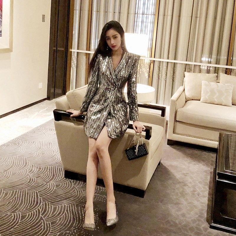 Spring Korean Style Deep V-neck Silver Color Suit Sexy Woman Beautiful Sequins Long Blazer Jacket