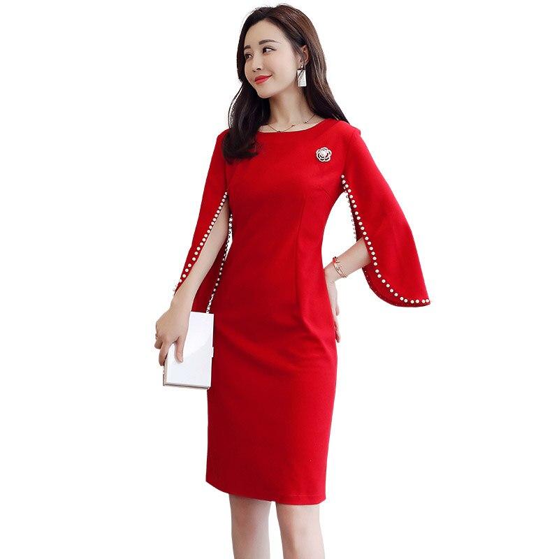 Nouvelle élégante robe Slim cape manches avec perles dames coréenne automne moulante robe pour femmes fête Vestidos 5XL vêtements f927