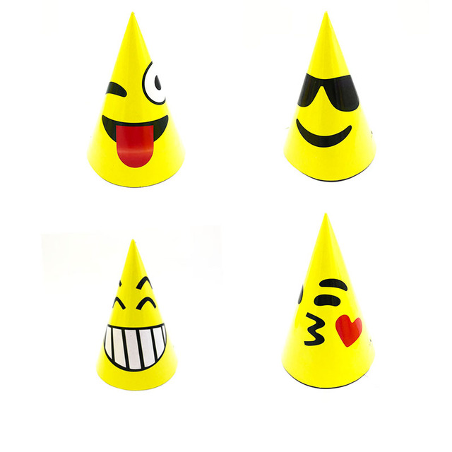 6pcs Lot Emoji Theme Party Hats Birthday Decorations Paper Emojis Disposable Tableware