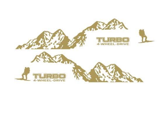 Виниловая наклейка на 4 колеса с Горным приводом для Toyota Prado Land Curies, уличная спортивная наклейка s, наклейка для боковой отделки двери автомобиля - Название цвета: Золотой