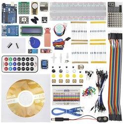 مجموعة المبتدئين ل UNO R3 تتفاعل المقاوم 1602 LCD التعلم جناح + صندوق البيع بالتجزئة + التعلم CD لاردوينو ميجا التوت بي