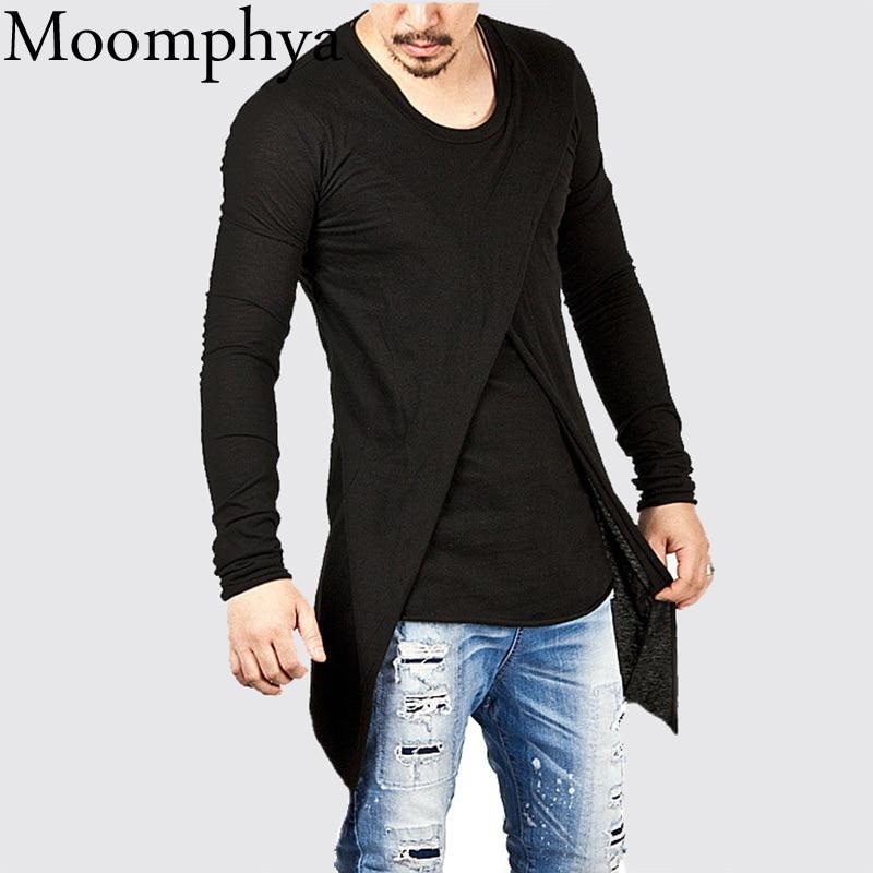 Moomphya 2018 Men Super Stylish Cross Layered Swallow Tail Long Tee Men long sleeve t-shirt Longline hem tshirt streetwear