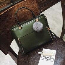 Ellacey Marke Frauen Leder Umhängetasche Vintage Pompon Tasche Hohe Qualität Frauen Messenger Bags Luxus Handtaschen Haarballen Frauen Tasche