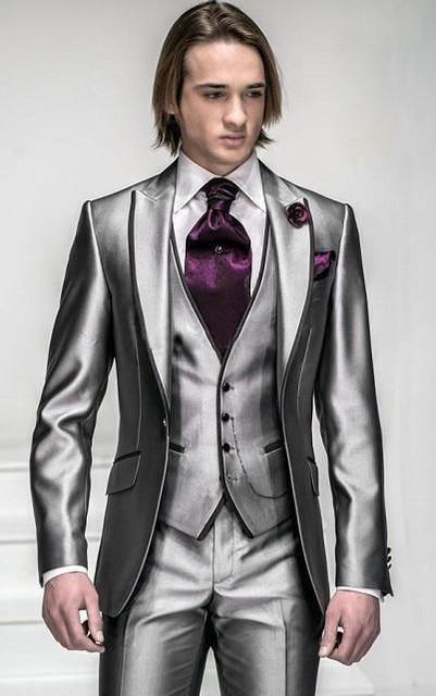 2015 Groom Wedding Suit Fitted Morning Mens Tuxedo With Lapel Groommen Wear Shop Custom Wedding Vests European Style Dresses