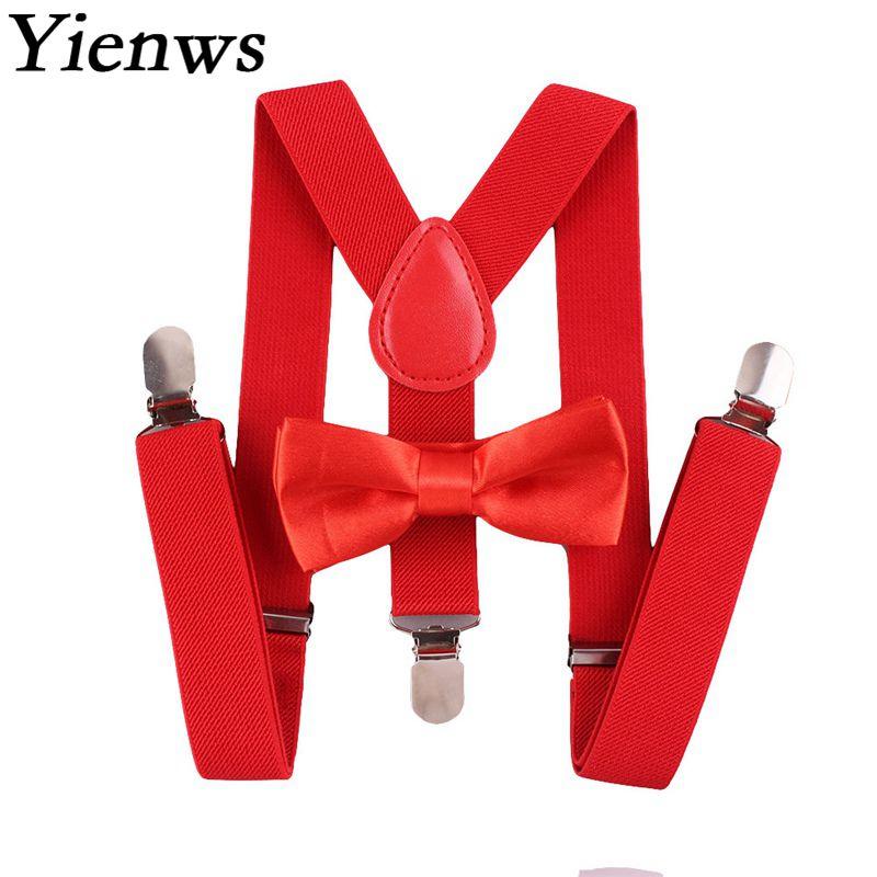 Yienws Suspensorio Bow Tie Suspenders For Women Men Butterfly Braces Red Pink Breteles Boys Jartiyer Kids Szelki YiA095