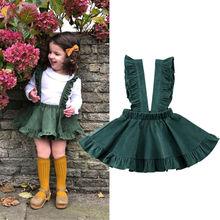 Г. Новая юбка на бретелях для маленьких девочек повседневная одежда на подтяжках мини-юбка Green хлопковая зеленая юбка на лямках