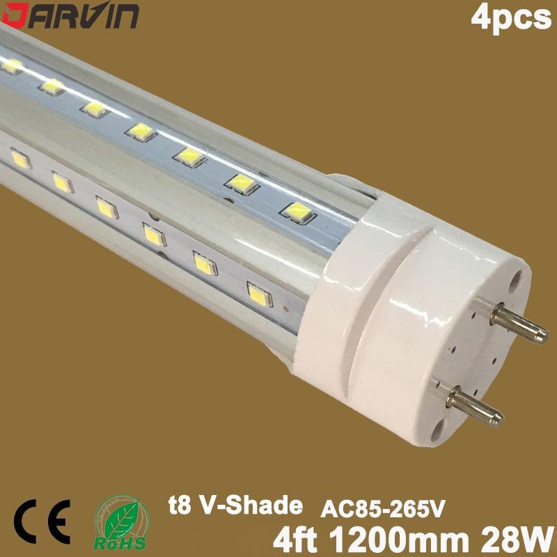 V shade Led Tube Light T8 Split Tube 4ft 1200mm 28W SMD2835 110V 220V Fluorescent Tube Lamp Super Bright Wide Beam Angle