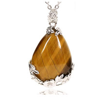 FYJS Unique Silver Plated Flower Wrap Water Drop Pendant Necklace with Natural Tiger Eye Stone Jewelry