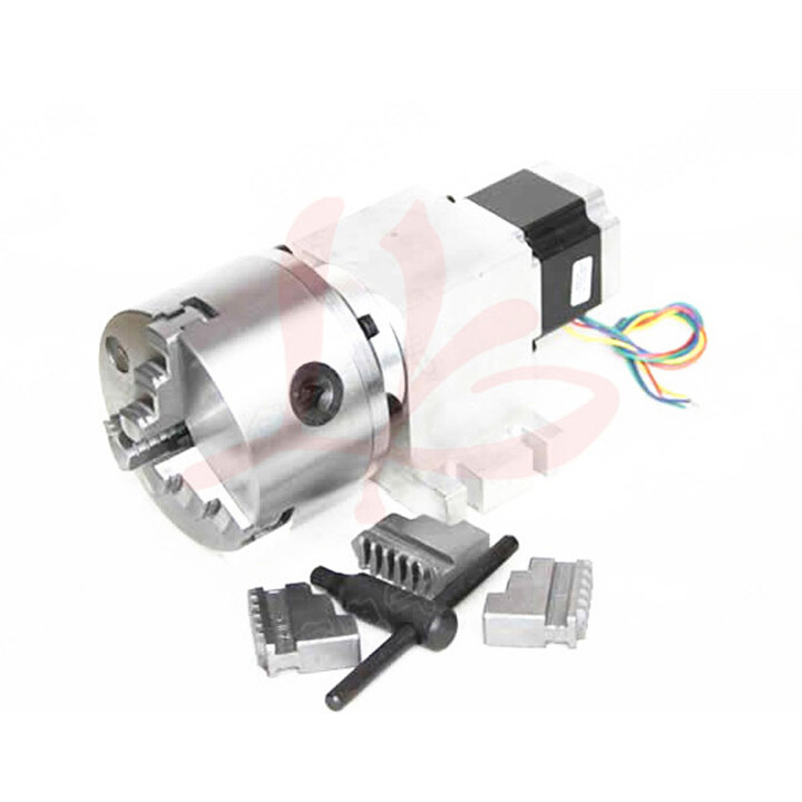 Rotary axis 14-50-100A harmonic drive reducer 3 Jaw 100mm chuck CNC dividing head for CNC 6040