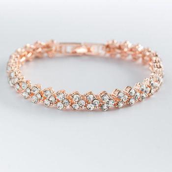 Women Silver Rose Gold Bracelet for Female Crystal Heart Charm Bracelet Women Bridal Wedding Fine Jewelry Gift 5