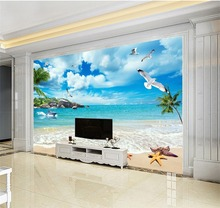 Custom Photo Wallpaper 3D Seagull Romantic Beach Landscape TV Background Wall Mural
