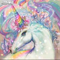 Full Square drill 5D DIY Diamond painting Rainbow unicorn Diamond Embroidery Mosaic Cross Stitch Rhinestone decoration HYY