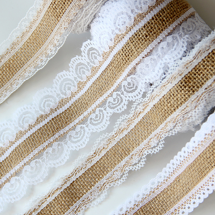 2.5cm Jute Burlap Ribbons with White Lace Decoration DIY Handmade Crafts Fabric Wedding Christmas Halloween Party Decoration(China)