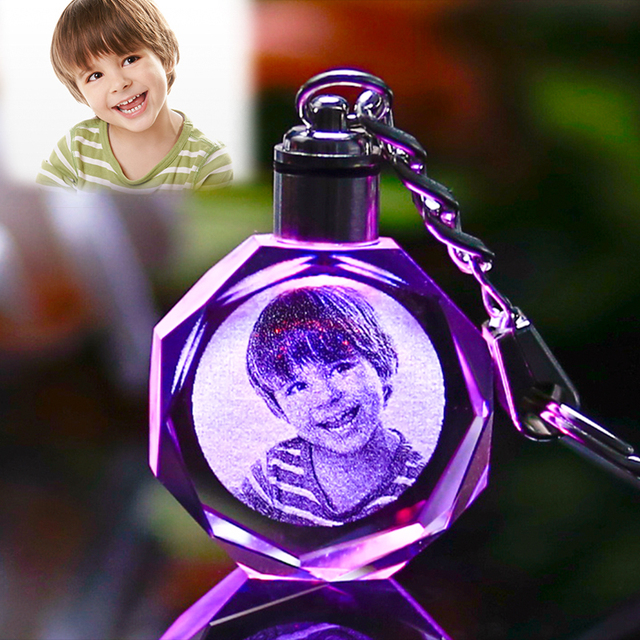 Colorful Crystal Love Keychain Photo LED Light Key Ring 5