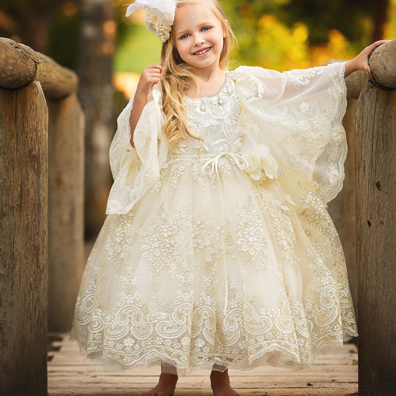 2017 New Flower Girl Dresses White/Ivory Long Sleeves Puffy Ball Gown O-neck Flare Communion Pageant Gowns Vestidos Longo Custom