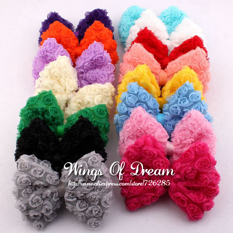 (120pcs/lot)15Colors Artificial Baby Girls/Women Winter Hair Accessories High Quality Handmade Fashion Big Soft Lace Hair Bows
