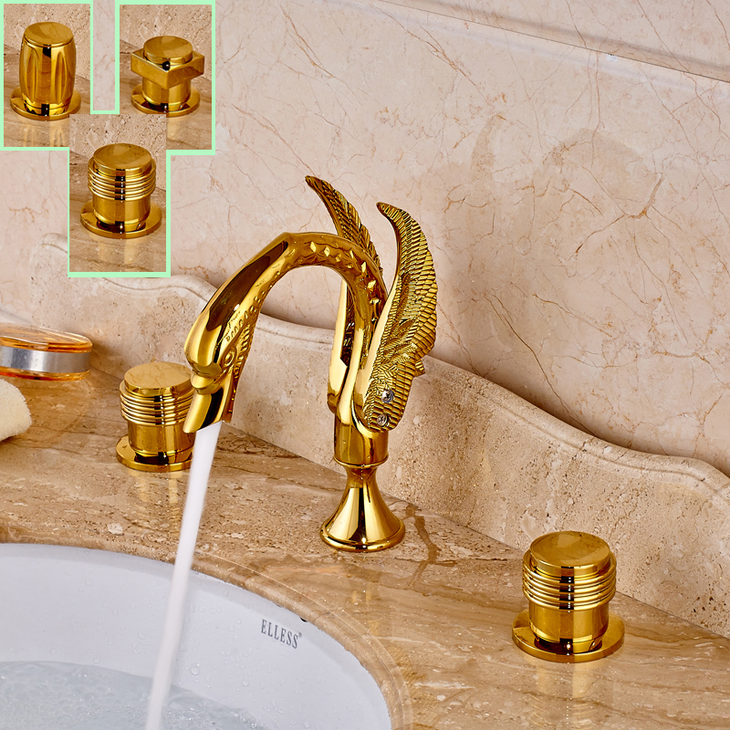 Deck Mounted Golden Widespread Bath Tub Sink Faucet Dual Handle Swan Basin Sink Mixer Taps deck mounted golden brass swan basin faucet single handle countertop sink mixer