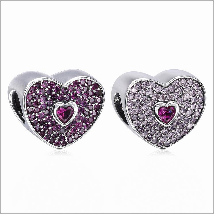 CZ radiant Hearts Crystal pave style 925 Sterling Silver charms Beads berloque Fits Pandora Bracelets & Necklaces DIY Jewelry
