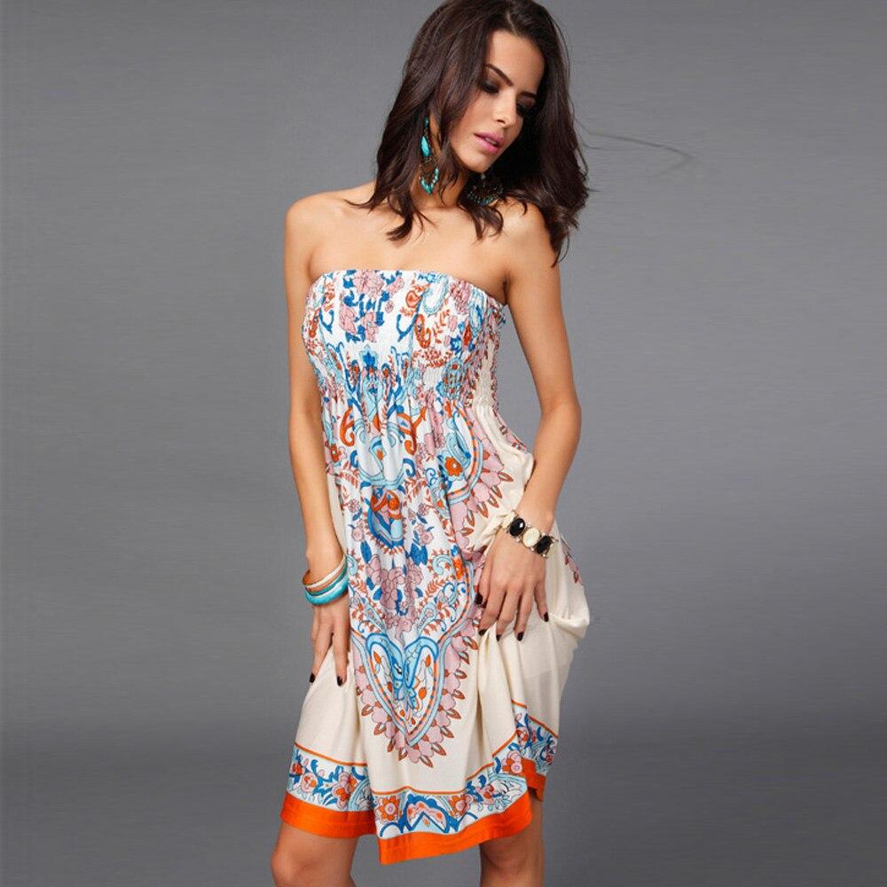 Strapless Mini Dresses 2019 Women Summer Sleeveless Vintage Printed Stretch Runway Sexy Wrap Dress Beachwear Boho Chic Sundress