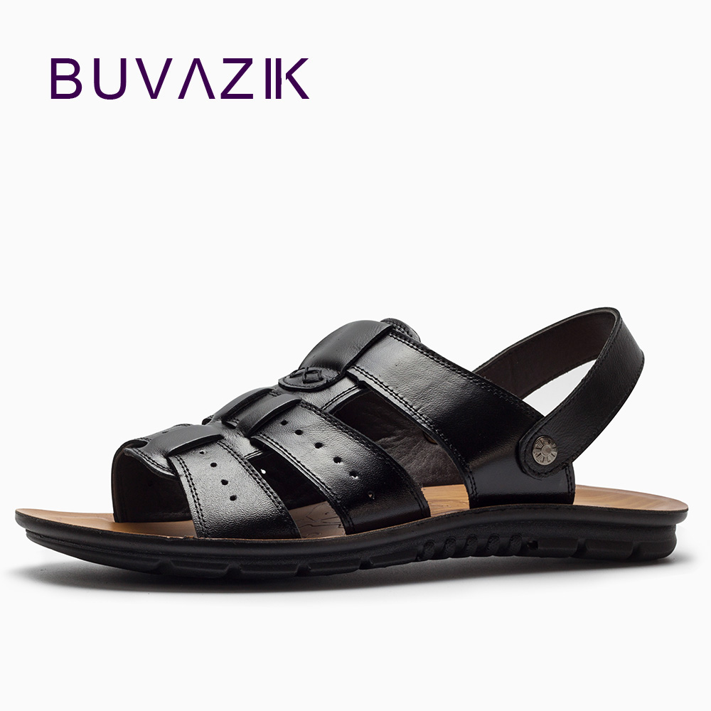 BUVAZIK mens genuine leather summer sandals breathable hard-wearing rubber sole fashion gladiator casual shoes men
