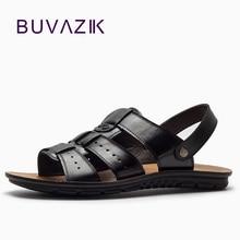 BUVAZIK vyrų natūralios odos vasaros sandalai, kvėpuojantys, sunkiai dėvimi guminiai megztiniai, gladiatoriai, atsitiktiniai batai vyrams