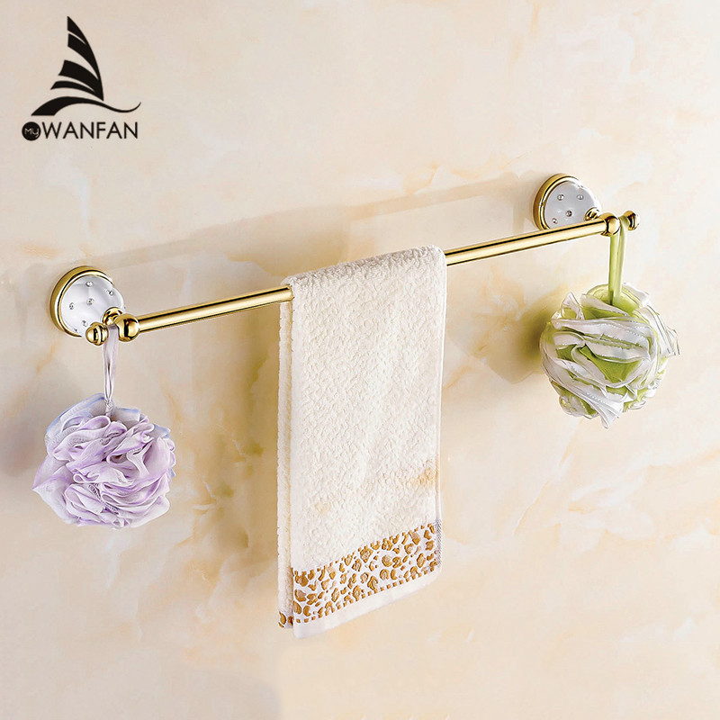 Single Towel Bars Silver and Gold Finish Towel Holder Towel rack Solid Brass Material Bathroom Accessories